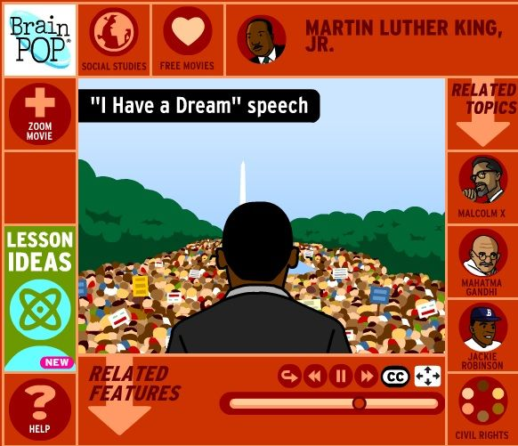 Free Brain Pop 4 minute movie about MLK.