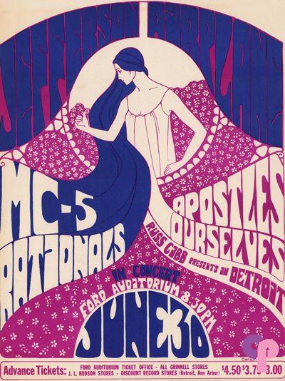 Grande Ballroom 6/30/67 Artist:  Carlson     Performers:  Jefferson Airplane  MC5  Rationals  Apostles  Ourselves