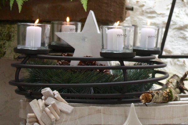 Wunderbar Deko Kerzenständer Adventskranz Tischdeko Weihnachtsdeko Vintage 44cm