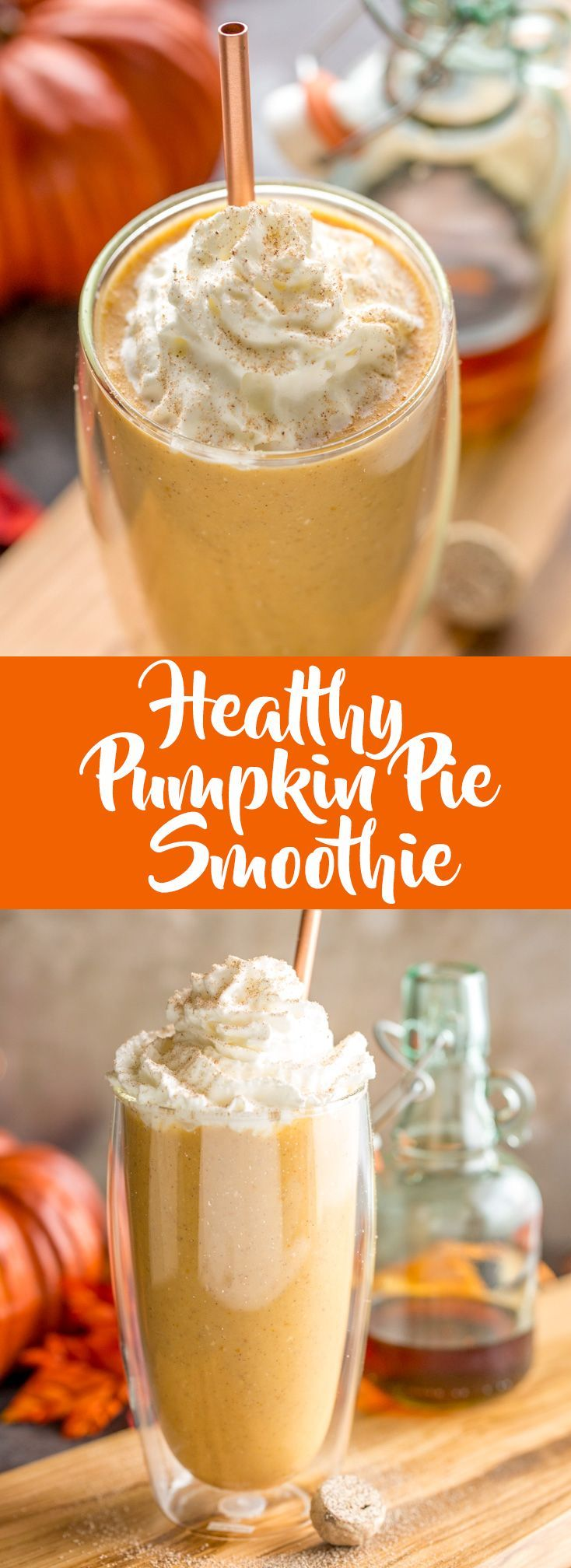 This healthy pumpkin pie smoothie will give you your pumpkin spice fix without all the empty calories.