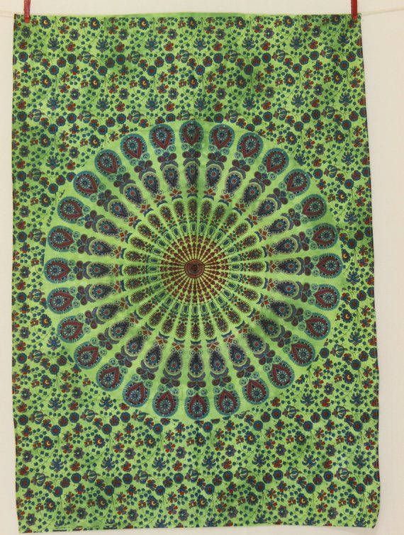 Green Mandala Wall Poster Indian Wall Hanging Hippie Wall Decor Cotton Floral Wall Tapestry Indian Wall Dec Indian Wall Decor Poster Wall Bohemian Tapestry