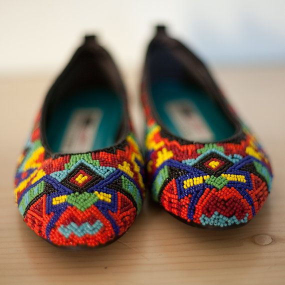 vintage NAVAJO beaded shoes by wanderlusters on Etsy