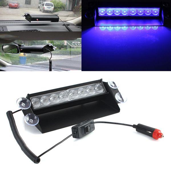 Blue 8 LED Emergency Strobe Light Car Cigarette Break Light