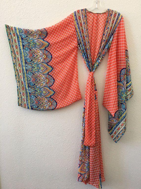 Kimono Orange Paisley Border Sheer Chiffon Handmade