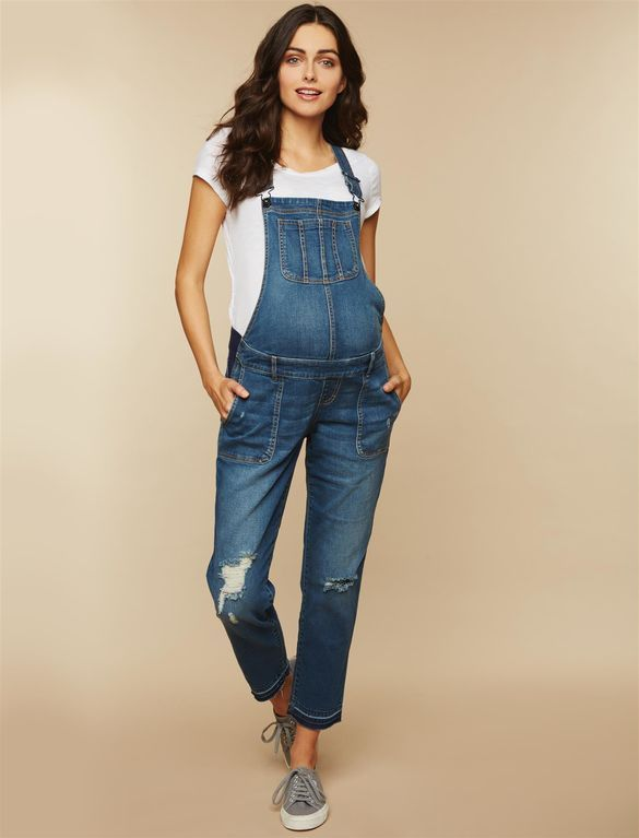 a166ec7a80 Side Panel Letdown Hem Maternity Overalls
