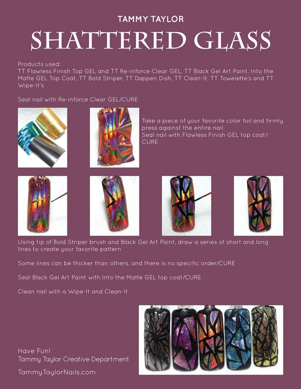 """♥ Tammy Taylor """"Shattered Glass"""" Nail Design Step by Step"""
