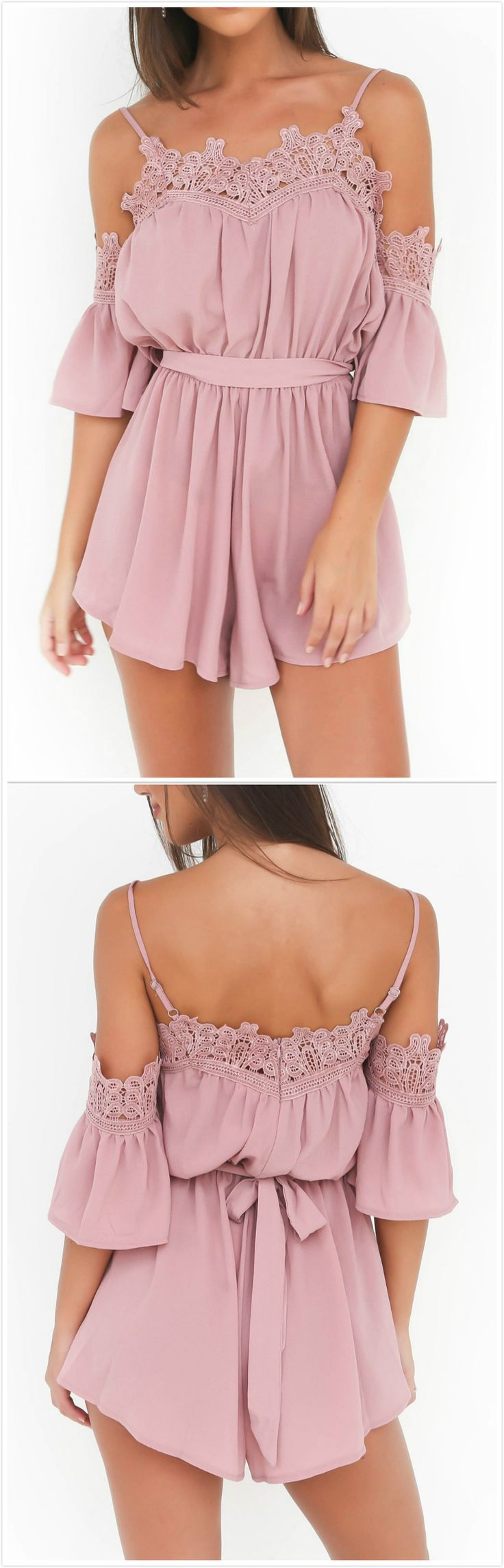Blush color romper with lace details