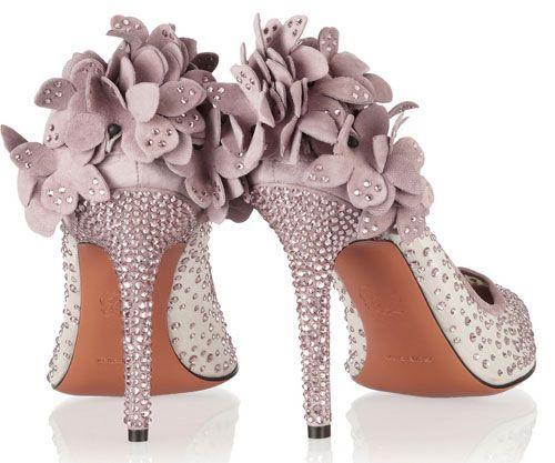 lilac embellished high heel shoes