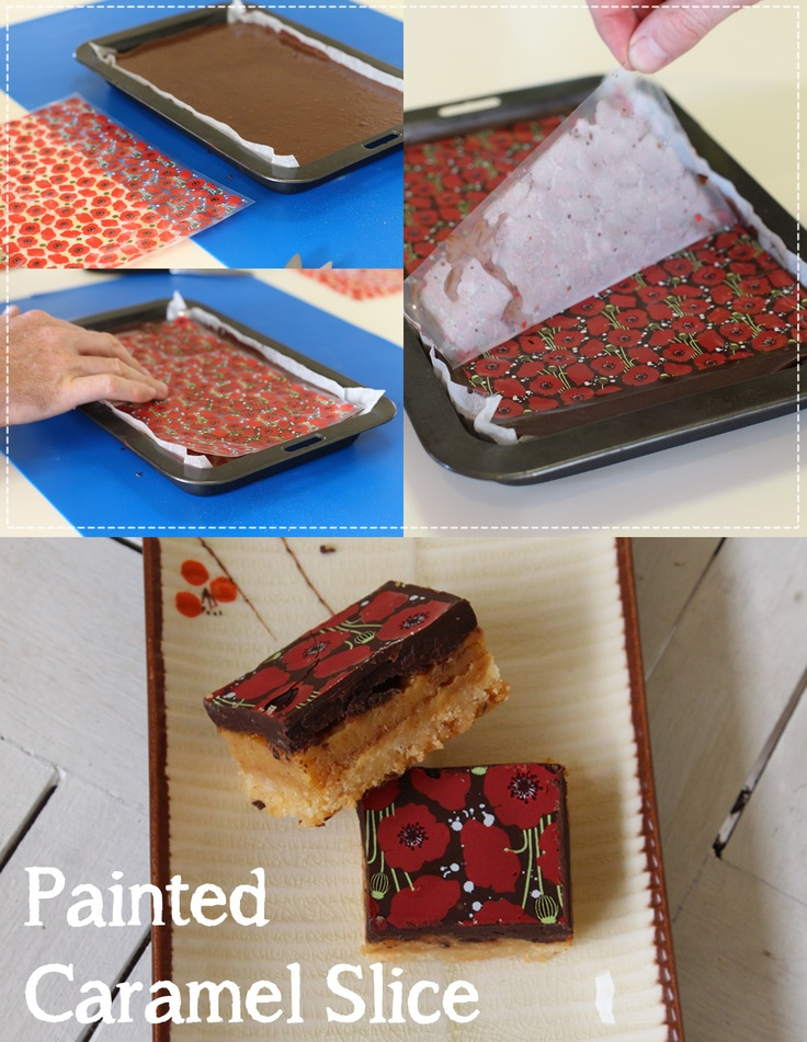 Using the Poppy chocolate Transfer sheet, we poshed up so old school caramel slice.  So easy and so lovely for presentation. http://www.cakesaroundtown.com.au/catalog/cakes-around-town-poppy-chocolate-transfer-sheet-single-p-6458.html