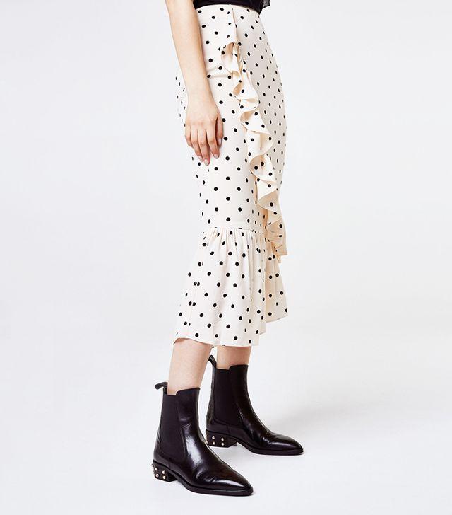 Uterqüe Polka Dot Skirt With Ruffles