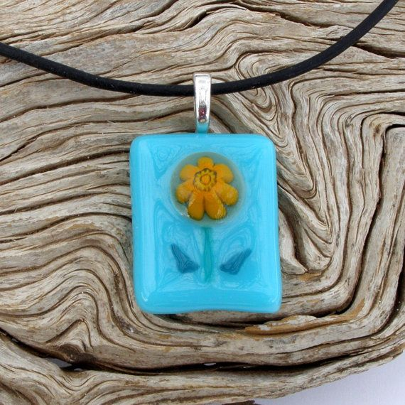 Fused Glass Flower Pendant Necklace - Light Blue Glass with Flower by GreenhouseGlassworks #jewelry #glass #handmade #fused #flower