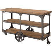 Coaster Furniture Industrial Sofa Table with Shelf and Casters #coasterfurniturebrown #coasterfurnitureshelves