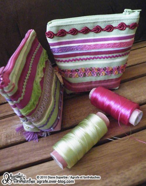 tuto d'un petite trousse porte monnaie l'idée est l'embellissement du tissu, sympa !!