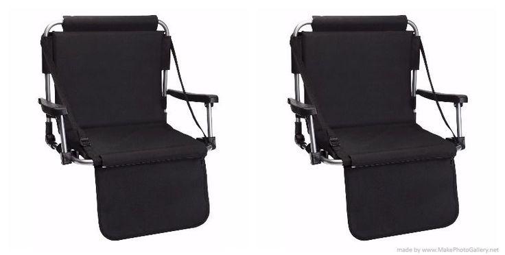 Set of Black Stadium Bleacher Chairs W/ Armrest & Padded Back by Barton Outdoors #BARTONOUTDOORS