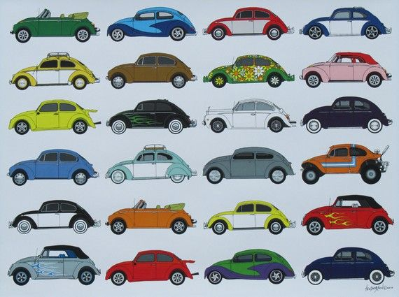24 VW Bugs / Beetles Poster / Print by EricsEasel on Etsy, $15.00