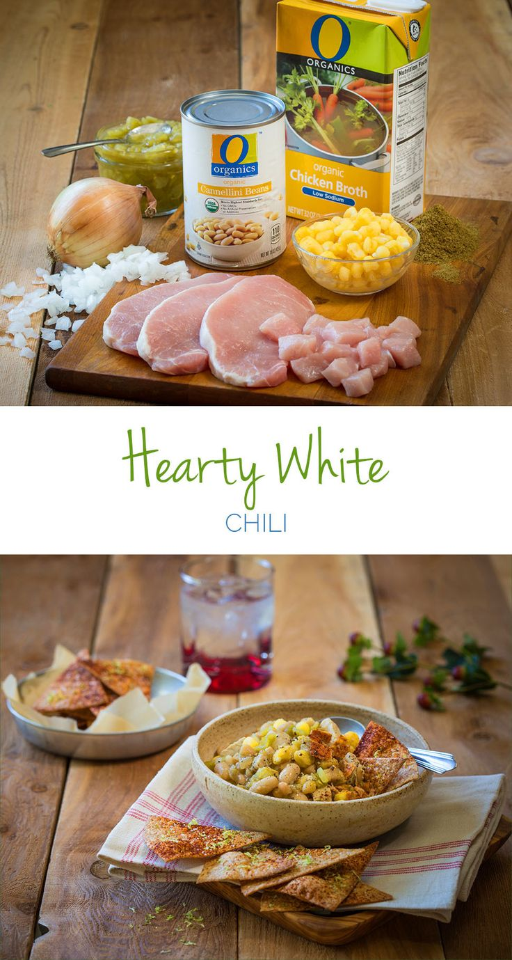 Hearty White Chili – In less than 30 minutes, you make this savory one-pot chili that's sure to impress at your next tailgate party. Pork chops add tons of flavor and protein to help keep you feeling warm and full for longer.