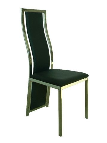 """The Marseille chair is a sophisticated classy piece to add to any kitchen dining set. It's made of man made leather outlined with chrome. It's feature is its high back which extends to the floor acting as the back legs of the chair.   Dimensions: 17"""" x 19"""" x 43""""H"""