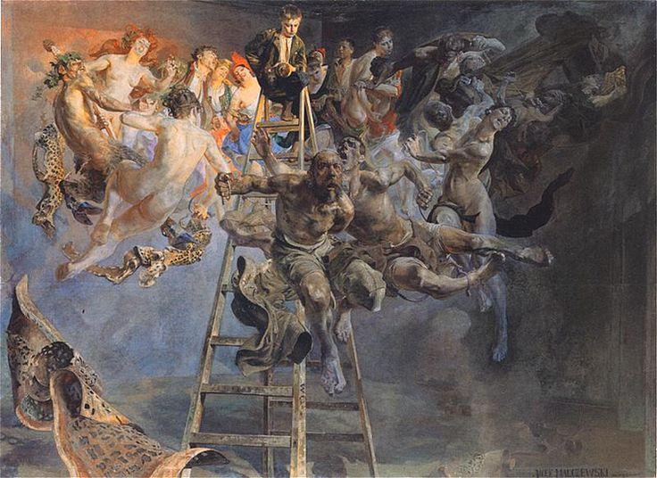Jacek Malczewski Błędne koło  1895-97. Olej na płótnie. 174 x 240 cm.  Muzeum Narodowe w Poznaniu.