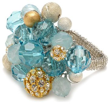 Crystal Bauble Napkin Ring - Seafoam / Gold / Silver transitional napkin rings