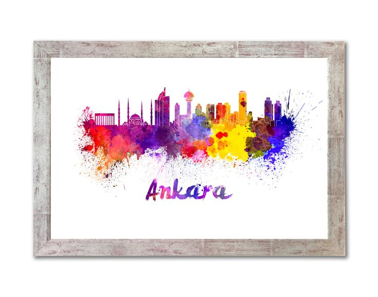 Ankara skyline in watercolor over white background with name of city - SKU 0243 by Paulrommer on Etsy