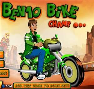 Ben10 Bike Champ - http://www.littlemonstersgames.com/ben10-bike-champ/ -  Description Ben 10 is once again back in the action with this race against aliens and collect nitro cans for more speed… You can also choose your Favorite ben 10 character Enjoy! Instructions Use Arrow keys to play the game and Z for Nitro.