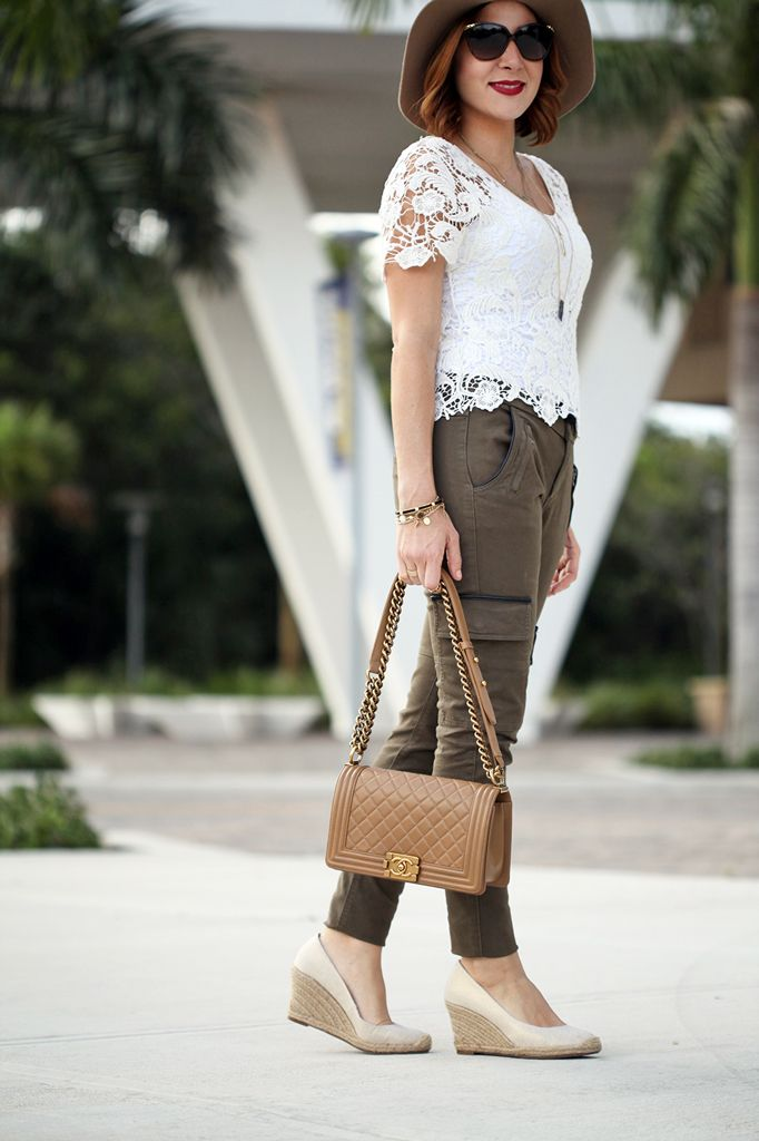 Blame-it-on-Mei: Lacey Outing - Military Olive Green Pants, Lace Top