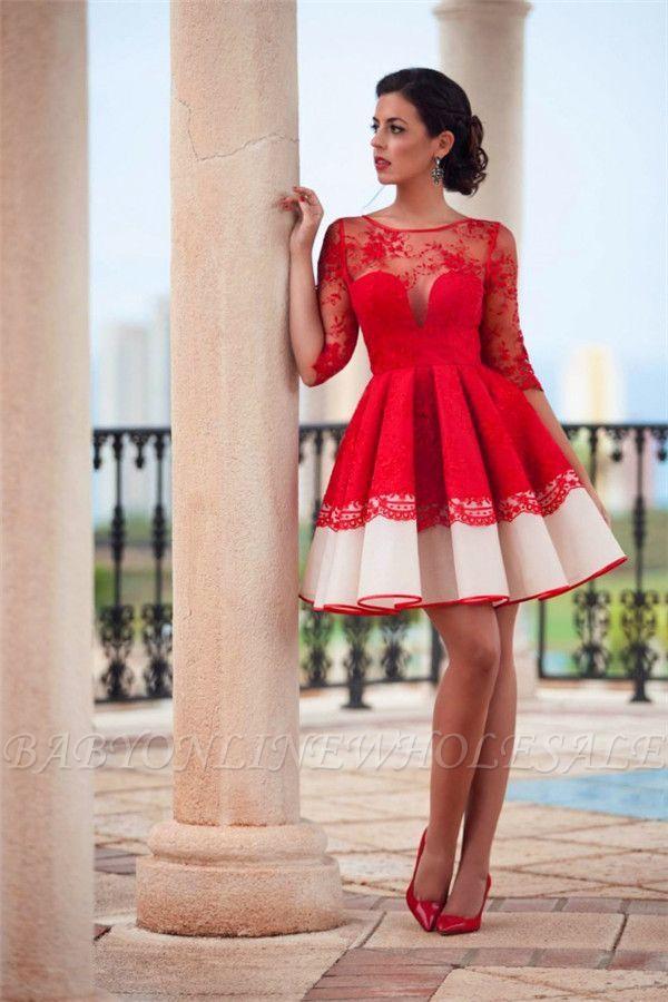 elegante abendkleider spitze langärmel  schlichte rot