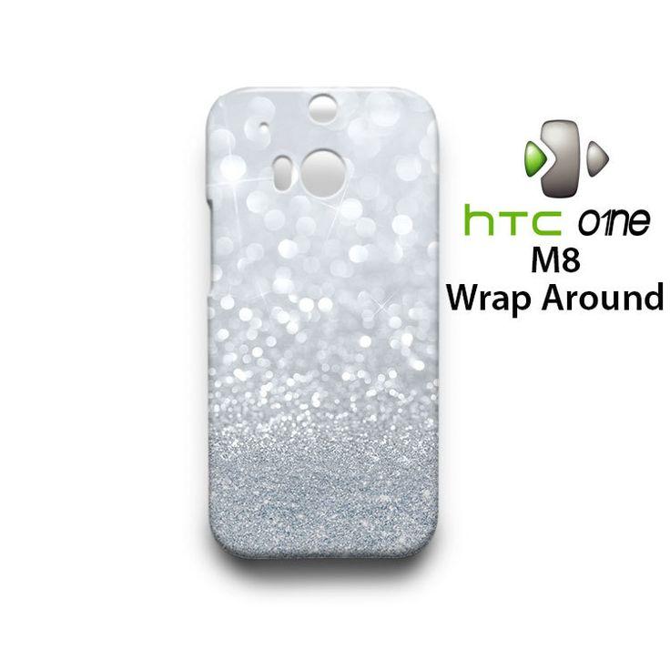 Grey Sparkle Glitter HTC One M8 Case Cover Wrap Around