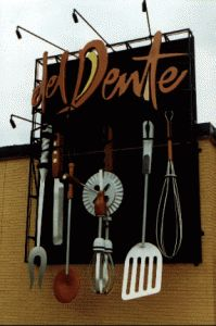 Del Dente Custom Business Sign Made From Wood Or High Density Urethane