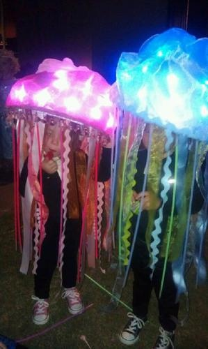 Homemade #Jellyfish #Halloween costumes using battery operated micro #LED lights. #creative #DIY Created with #RTGSproducts (www.rtgsproducts.com)
