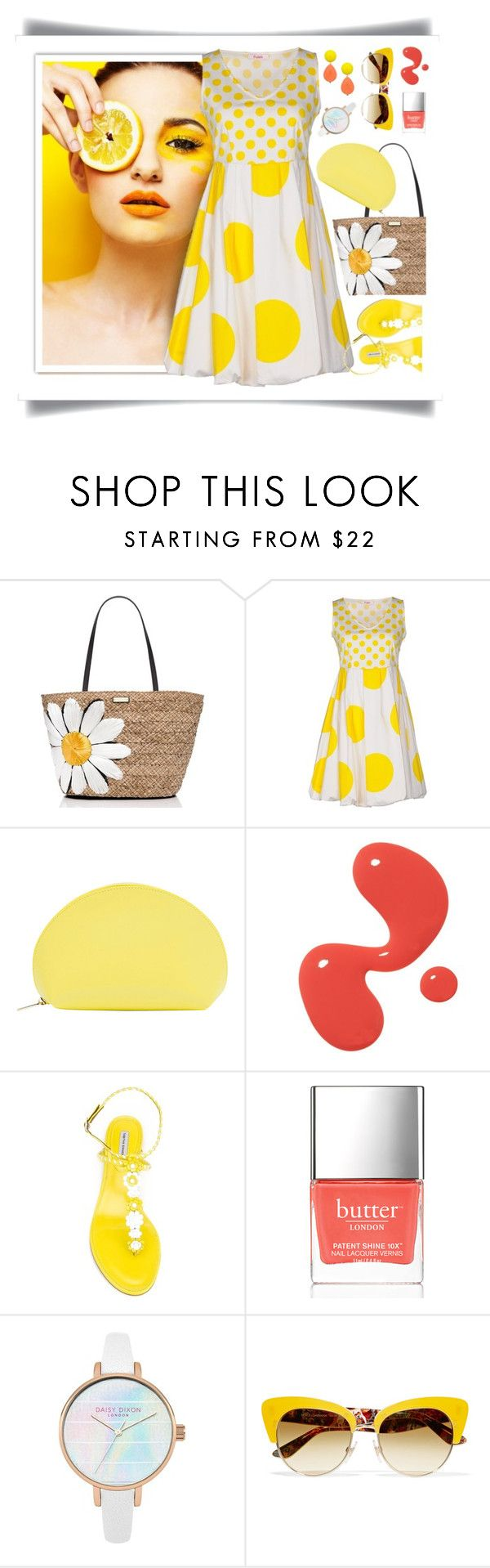 """Lemon  Drop"" by petalp ❤ liked on Polyvore featuring Kate Spade, Blugirl Folies, Paperthinks, Tabitha Simmons, Butter London, Dolce&Gabbana, David Aubrey, dress and ootd"