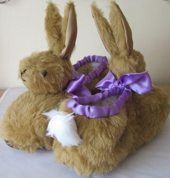 Unisex SlippersBrown Rabbit Heads Plush Mauve by COLDHAMCUDDLIES