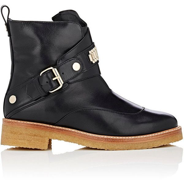 Lanvin Women's Bracelet-Inset Leather Ankle Boots ($749) ❤ liked on Polyvore featuring shoes, boots, ankle booties, ankle boots, black, wide width ankle boots, wide width booties, leather booties and short black boots