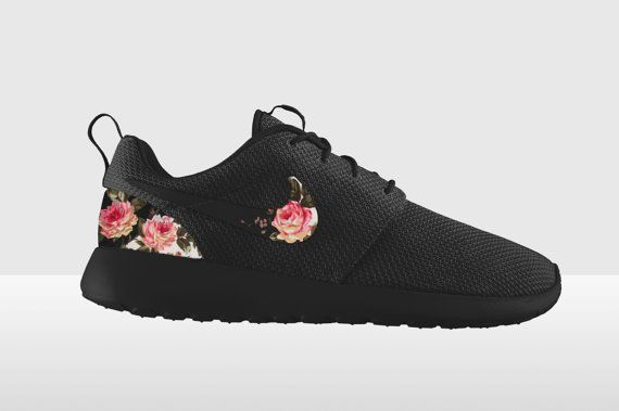 Triple Black Roshe Run Floral Custom Nike Roshe Run by MindysLab, $195.00  Wow~! nike free runs cheap sale and all are Less than $50!. running shoes, fashion style 2016