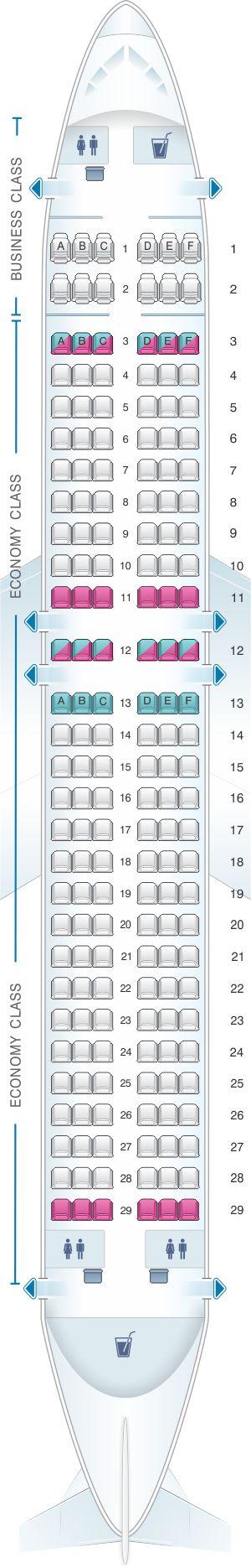 Seat Map Air Serbia Airbus A320