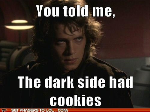 Palpatine obviously lied.:  Dust Jackets, Books Jackets, Funny Pictures, Chocolates Cookies, Stars War, Dark Side,  Dust Covers,  Dust Wrappers, Starwars