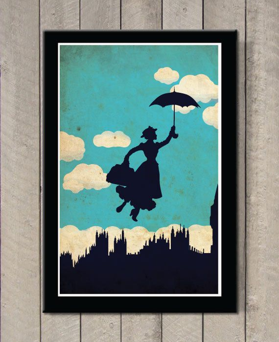 Vintage Disney movie poster - Mary Poppins  Poster size: 11 inches x 17 inches  - Printed on high quality, weather resistant, 220g texture card