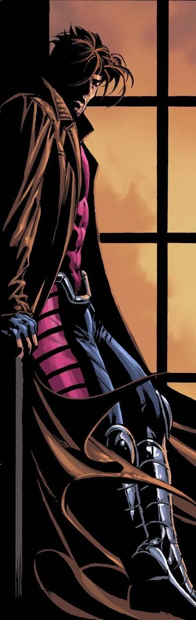 Gambit has this natural charm, with his smirk, accent, the way he talks to Rogue makes you want to keep him for yourself in this picture shows how much of a mystery he actually is