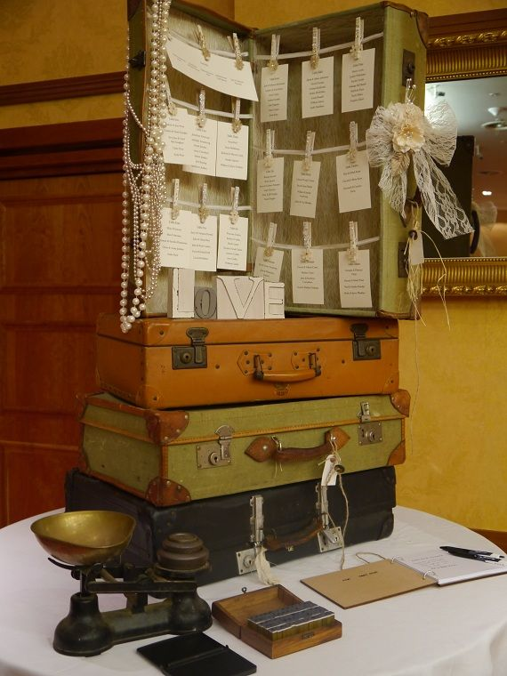 Suitcase Table Plan Wedding Reception