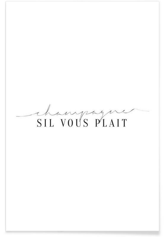 Champagne Sil Vous Plait als Premium Poster door Honeymoon Hotel | JUNIQE