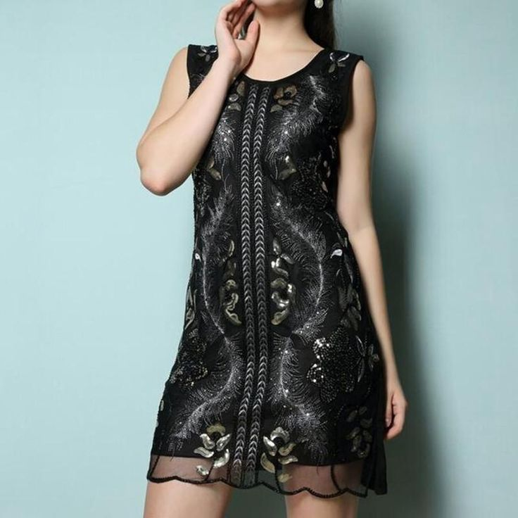 Great Gatsby Inspired Dress With g Sequins Double Layered Mesh Embroider