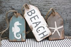 Beach House Wood Sign Tag Set Beach Decor Beach Wood Sign Pool House Decor Nautical Wood Sign Rustic Distressed Starfish Seahorse – Andrea Mueller-Koch