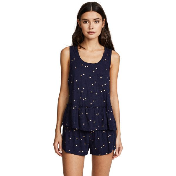 Splendid City Lights Stars PJ Set ($90) ❤ liked on Polyvore featuring tops, sparkling stars navy, sleeveless tops, sleeveless smock tops, jersey top, navy top and blue top