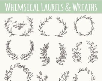 Chalkboard Laurels & Wreaths Clip Art // Plus par thePENandBRUSH