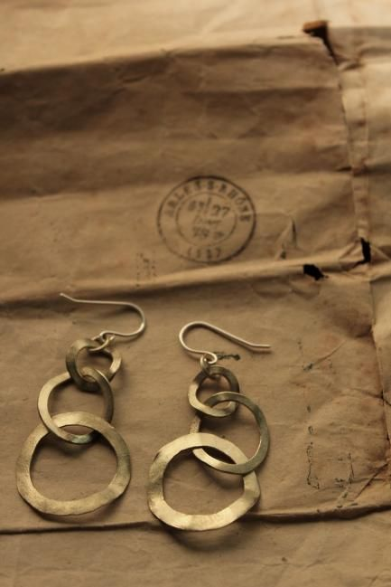 Brass Hoop Chain Earrings - IRRE