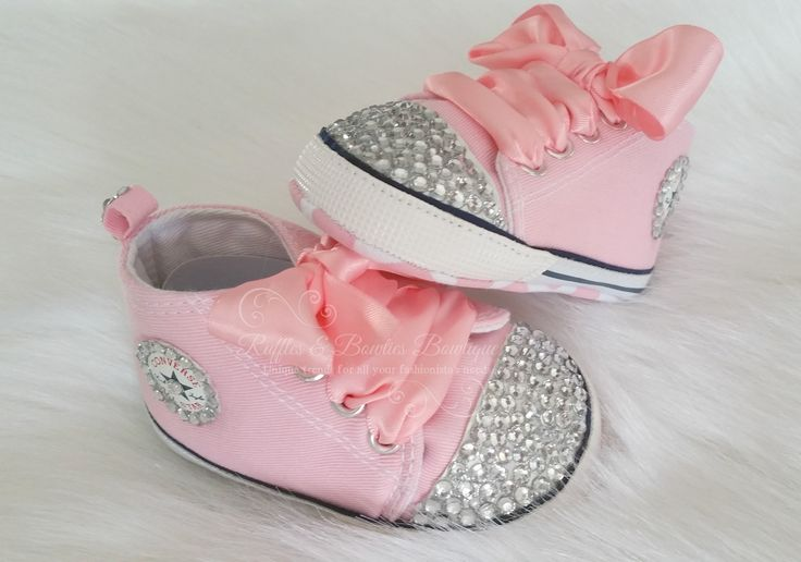 Crystal Baby Converse High Tops - Crystal Shoes - Pre Walker Shoes - Baby Girl Shoes - Wedding - Christening - Baptism - Baby -Pink Crystals