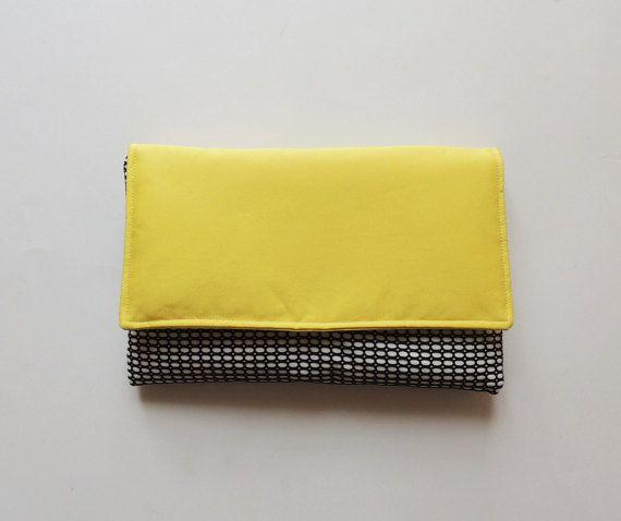 Spring summer clutch bag, yellow clutch bag, handmade bag, diy, envelope clutch  Etsy https://www.etsy.com/listing/270740446/yellow-clutch-bag-black-and-white-spring