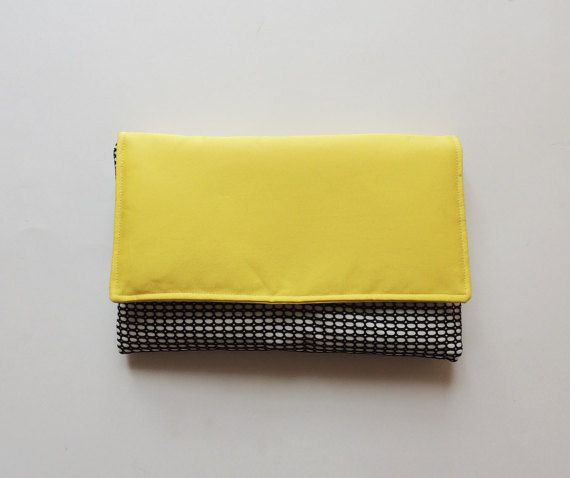 Spring summer clutch bag, yellow clutch bag, handmade bag, diy, envelope clutch  Etsy https://www.etsy.com/listing/270740446/yellow-clutch-bag-black-and-white-spring