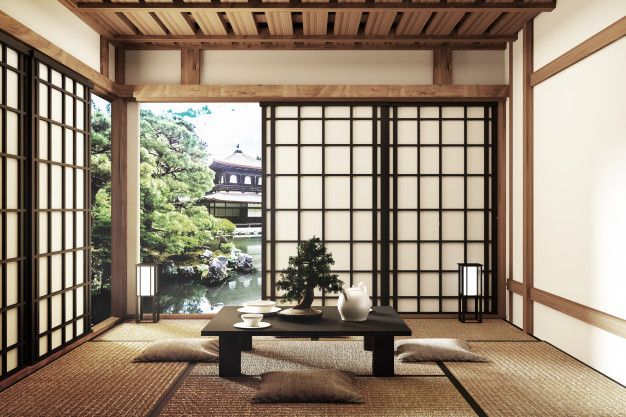 Mock Up Modern Living Room Japanese Style 3d Rendering In 2020