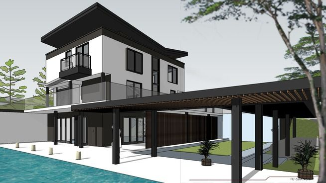 asian contempoary house with landscape - 3D Warehouse